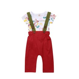 China 2018 Canis Toddler Baby Boy Girl Short Sleeves Christmas Tree Bodysuit Top+Suspender Overalls Trousers Clothes Red Set Outfit cheap baby boy suspender trousers suppliers