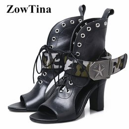 cc1e7b02e47c Buckle studded ankle Boots women online shopping - Sexy Open Toe Women  Sandals Black Real Leather
