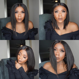 straight full lace wig silk base NZ - Silk top Bob Cut Glueless Full Lace Wigs middle part Silk Base Lace Front Wigs Short wig Silk Straight Brazilian Human Hair Wigs