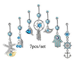 Wholesale 7pcs set Sexy Dangle Belly Bars Belly Button Rings Fashion Surgical Steel Rhinestone Body Jewelry Navel Piercing Rings