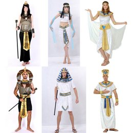 King pharaoh costume online shopping - lothes germany Umorden Halloween Costumes Ancient Egypt Egyptian Pharaoh King Empress Cleopatra Queen Costume Cosplay Clothing for Men Wo