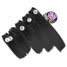 Afro Hair Extensions Bundles UK - Yaki Straight Hair Weave Bundles Kinky Straight 8-14inch Black Synthetic Sew In Hair Extensions Afro Double Weft for black women one head