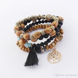 Tree life braceleTs online shopping - 5 Style Retro Bohemian Multilayer Wood Beads Bracelet Bangle Tree Of Life Tassel Pendant Charm Bracelets Jewelry Xmas Gift B630S F