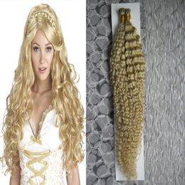"""Brazilian Kinky Curly Braiding Hair UK - 18"""" 20"""" 22"""" 24"""" Blond increase capsule fusion hair extensions 100g human Hair kinky curly braiding 100g stick tip pre bonded hair extension"""