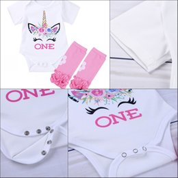 b1c7b5ec03 Infant Baby Girls Outfit Short Sleeves jumpsuits Unicorn baby girl Romper  Printed Letter ONE First Birthday Romper with Leg Warmers Set