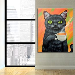 diy oil paint number kits Canada - Framed Oil Painting By Numbers DIY Kits Drawing Cat Drink Coffee On Canvas Coloring Home Decor Abstract Cartoon Picture Wall Art