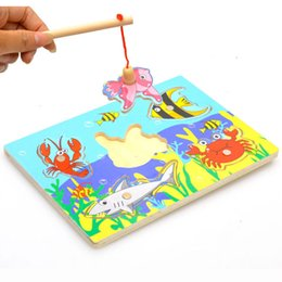 $enCountryForm.capitalKeyWord NZ - Cartoon Fishing Toy Magnetic Fishing Game Toys Puzzle Wooden Magnetic 3D Crab Parent-child Interaction Toys for Children Toddler