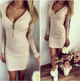 $enCountryForm.capitalKeyWord NZ - Women dress tight hip bag v-neck zipper open warm long-sleeved dress