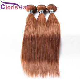 Discount cheap peruvian straight hair 3pcs - Overnight Shipping #30 Straight Malaysian Virgin Hair Bundles Medium Auburn Human Hair Extensions 3pcs Cheap Blonde Colo