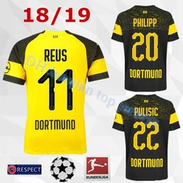 2018 2019 Bundesliga FC Borussia Dortmund Jersey Men Soccer 11 GOTZE 11  REUS 22 PULISIC 23 KAGAWA 33 WEIGL Football Shirt Kit Uniform bfdd20d94