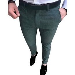 Slim Fit Grey Trousers Men Canada - NIBESSER Vintage Men Wedding Suit Pants Fashion Solid Social Business Dress Pants 2018 Autumn Slim Fit Mens Formal Trousers