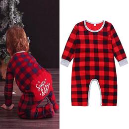 615037d4220f Xmas Baby girls boys Plaid letter print romper infant lattice Jumpsuits  2018 autumn Christmas Boutique kids Climbing clothes C5102