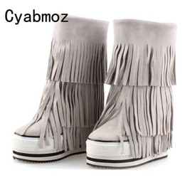 689801176cc Handmade Fringe Booties Height Increasing 13cm Winter Warm Genuine Leather  Suede Tassel Snow Boots Women Platform Elevator Shoes discount increase  elevator ...