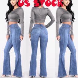 c50932b8a41c5 New Fashion Femmes Taille Haute Pantalon En Denim Éclaté Bell Bottom Jeans  À La Mode Light Denim Lady Casual Flare Pants