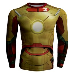men superheroes t shirts Canada - Men's fashion creativity golden t-shirt tights tee superhero Iron Man sport long sleeves cycling fast dry basketball vest