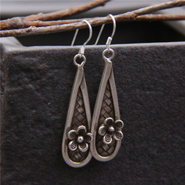 China Made Silver NZ - designer jewelry fashion charm 925 sterling silver earring Handmade Old woven eardrop made of small drop of water vintage china direct