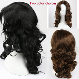 $enCountryForm.capitalKeyWord Australia - Long Wavy Synthetic Hair Wigs for Women Ladies Wig Stylish Natural Style Brown or Black Two Choices Heat Resistant Cosplay Wig  Party Wigs