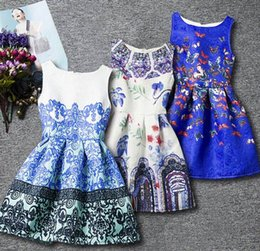 korea clothes wholesale UK - 2017 Spring Summer New Girl Dress Korea Style Retro Print Dress Princess Sundress Children Clothing 6-12Y RF0036