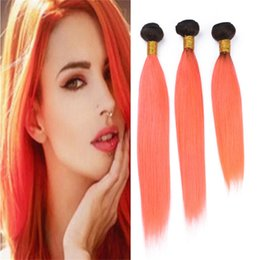 16 inch 1b hair Australia - Two Tone 1B Orange Ombre Indian Human Hair Weave 3 Bundles Silky Straight Dark Roots Light Orange Ombre Virgin Hair Wefts Extensions