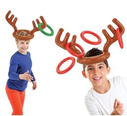 funny adult cartoons NZ - Cartoon Inflatable Cap Reindeer Antler Hat For Children Christmas Gift New Lovely Headgear funny throwing ring Toy for kids adult
