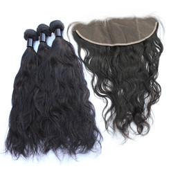 Lace Frontal Cheap Bundles UK - 3 Bundles Brazilian Natural Wave Hair Bundles With Lace Frontal Closure Pre Plucked Cheap Unprocessed Virgin Human Hair Weaves Natural Color