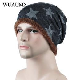 5003a4b644f Wuaumx NEW Men s Winter Hats Beanies For Men Boys Pentagram Print Bonnet  Skullies Caps With Velvet Warm Baggy Knitted Hat Man