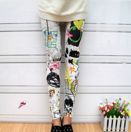 ingrosso gambali graffiti delle ragazze-Nuovo arrivo alta elasticità Abbigliamento donna Lady Moda eleganza Retro stampa Graffiti Pantaloni Capris Girls Slim Leggings senza fiato