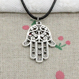 $enCountryForm.capitalKeyWord NZ - Creative Fashion Antique Silver Pendant hamsa palm hand protection 24*35mm Necklace Choker Charm Black Leather Cord Handmade Jewlery