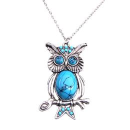 $enCountryForm.capitalKeyWord UK - New Women Vintage Turquoise Rhinestone OWL Pendant Long Chain Necklace Jewellery