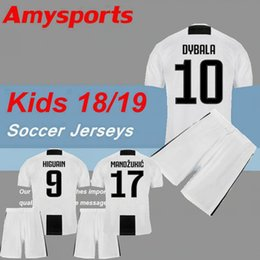 Kids kit 2018 Dybala Soccer Jersey MAGLIA Calcio HIGUAIN Matuidi 18 19  D.Costa Khedira MANDZUKIC Bernardesch youth boy Child football shirts 664d3f771