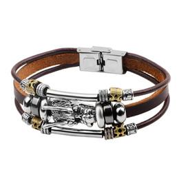 StyliSh men bracelet online shopping - Steampunk Charm Bracelets for Men Really Leather Rope Chain Dragon Design Cool Jewelry Boyfriend s Stylish Gift