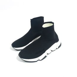 Women sneaker Wedges online shopping - Big size US13 White black red Luxury Sock Speed Trainer Running Shoes Men Women Black White Red Grey Sneakers Fashion Boots Size