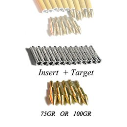points for arrows Australia - Linkboy Archery 12pcs Golden Target Point tips 75gr 100gr 8-32 Whorl and 12pcs Aluminium Arrow Insert for compound bow Hunting Shooting