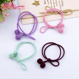 Stranded Hair Wholesale Australia - High elastic double strands hand-made knotted headwear, rubber band, double ball, single side bow hair ornament, multi color optional hairpi