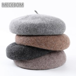 Wholesale 2018 Autumn Winter Hats For Women Knit Warm Wool Solid Colors British Style Hats Elegant Lady Beret Painter Hat Female c