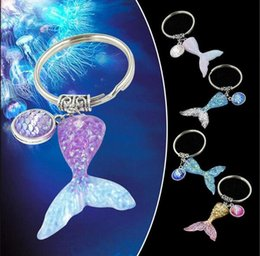 Coin Scale NZ - Mermaids keychain tapered cartoon fish tail fish scales key chain pendant gift five styles can choose