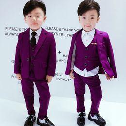 76331276d Sólido púrpura niño Blazer traje de la boda de la flor vestido del muchacho  del bebé ropa Set 4parts empate chaqueta chaleco pantalón traje formal