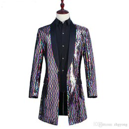 China Men Rainbow Color Long Coat Colorful Flipping Sequins Windbreaker Outerwear Tide Male Singer Punk Dancer DJ Concert Host Performance Costume cheap performance painting suppliers