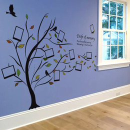 Picture Charts Canada - Wholesale 123*95cm Tree Picture Frame Wall Stickers Wallpaper Paper Peint 3d Home Decor Bathroom Kitchen Accessories Household Suppllies