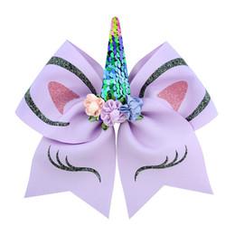 INS Prenses Kız Unicorn JOJO Siwa Cheer Bow Ponyrtail Tutucu Ile Şerit Saç Yay Kumaş Amigo Yay Kızlar JOJO Hairbands H63 indirimde