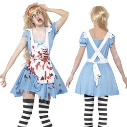 Discount scary woman costumes - Adult Women Halloween Scary Zombie Maid Bloody Costume Horror Clothes Devil Vampire Dreadful Cosplay Party Outfit for Fe