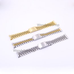 22mm curved end stainless steel online shopping - 19 mm Gold Two tone Hollow Curved End Solid Screw Links L Steel Replacement Watch Band Strap Old Style Jubilee Bracelet
