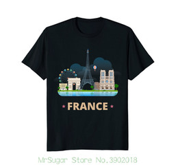 Tower Short Sleeve Canada - France Travel Souvenir Eiffel Tower Notre Dame Tee Shirt Short Sleeve Round Neck T Shirt Promotion