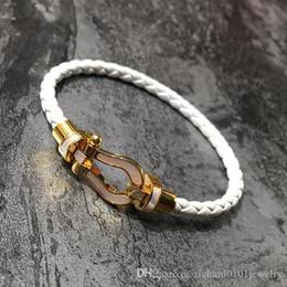 White Silver Bracelet Australia - Genuine leather vachette clasp bracelets with shell for women titanium steel Gold silver magnet knitted bracelet fine white black red bangle