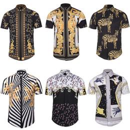 polka dot dress shirts for men 2019 - Men's 3D Print Casual Shirt Striped Paisley Animal Printed Short Sleeve Shirts Slim-Fit Dress Shirts For Men Plsu S