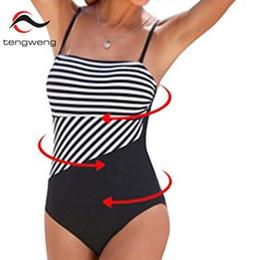 3065b68e68b42 Tengweng 2018 Bikini Tankini One piece Women Black Bathing suit Padded Sexy Swimming  Suit Stripe Sport Swimwear Plus Size XXL