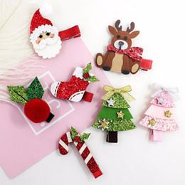 Kawaii glitter online shopping - Boutique Cute Glitter Xmas Hairpins Accessories Solid Kawaii Felt Deer Christmas Santa Claus Tree Party Hair Clips Headware Gift