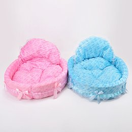 Pet housing online shopping - Dogs Kennel Princess Lovely Lace Poodle Kennels Cat Nest Dogs Houses Pink And Blue Heart Pillow Pet Supplies mp gg
