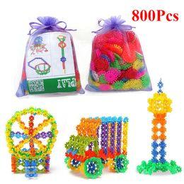 block puzzle toy 2019 - 800 Pcs Plastic Snowflake Building Blocks 3D Puzzle Jigsaw Building Model DIY Assembling Classic Toys Educational Toys f