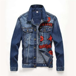 $enCountryForm.capitalKeyWord Canada - brand luxury Men Denim Jacket Mens Hip Hop Cowboy Jackets Fashion Male Bomber Jacket Turn-down Collar Cotton Outwear Ripped mens Badge Coats